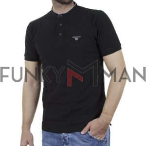 T-Shirt Mao Collar Pique DOUBLE PS-265S Μαύρο