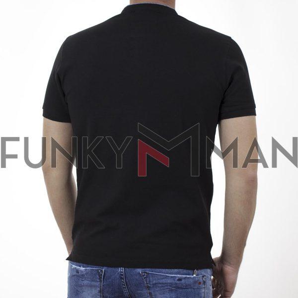 T-Shirt Mao Collar Pique DOUBLE PS-265S Μαύρο