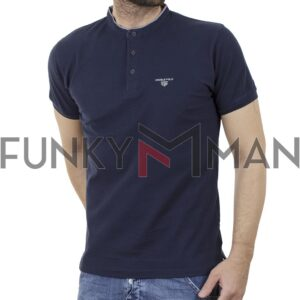 T-Shirt Mao Collar Pique DOUBLE PS-265S Navy