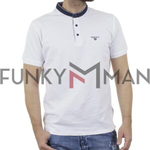 T-Shirt Mao Collar Pique DOUBLE PS-265S Λευκό