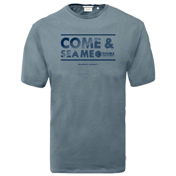 Graphic Print T-Shirt DOUBLE TS-164 ανοιχτό Μπλε