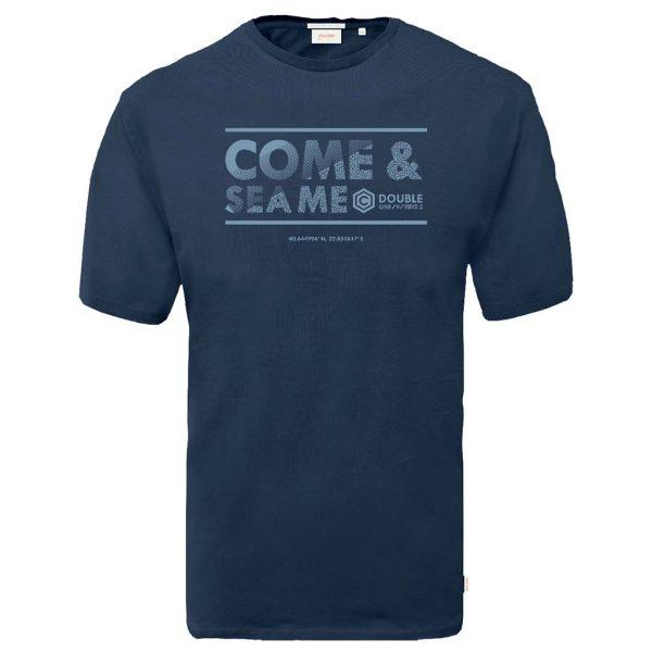 Graphic Print T-Shirt DOUBLE TS-164 Μπλε