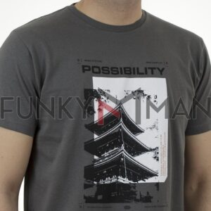 Graphic Print T-Shirt DOUBLE TS-166 Ανθρακί