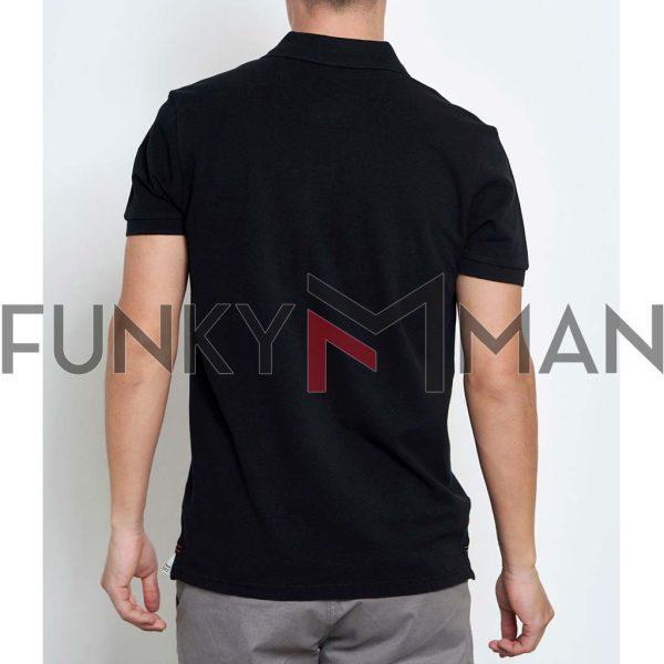 Pique Polo FUNKY BUDDHA FBM003-001-11 Μαύρο