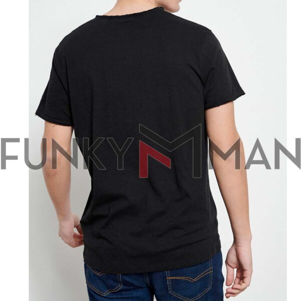 Henley T-Shirt FUNKY BUDDHA FBM003-005-04 Μαύρο
