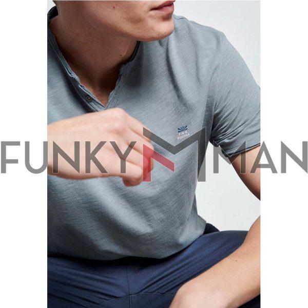 Henley T-Shirt FUNKY BUDDHA FBM003-005-04 Γκρι