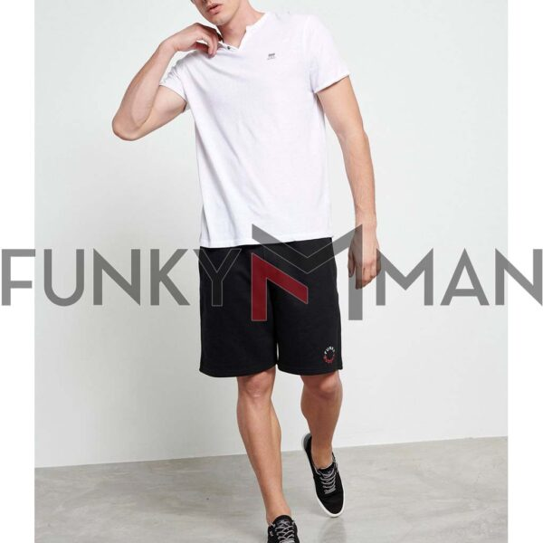 Henley T-Shirt FUNKY BUDDHA FBM003-005-04 Λευκό