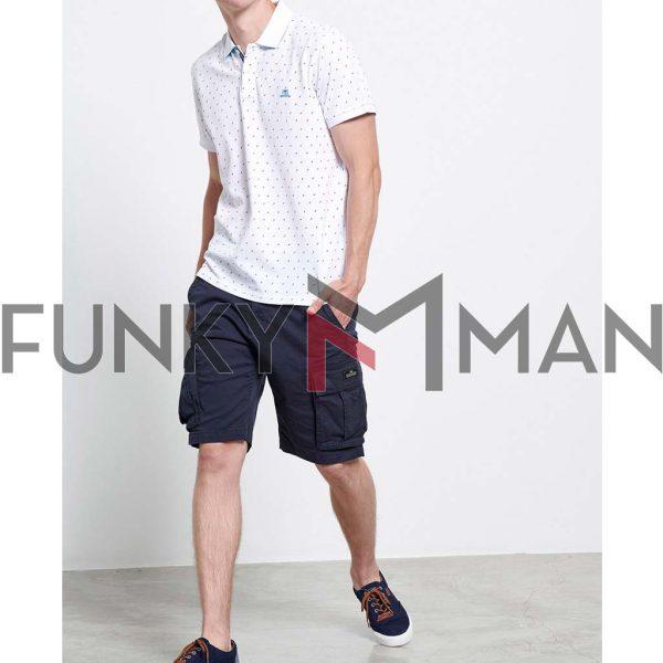 Fashion Pique Polo FUNKY BUDDHA FBM003-097-04 Λευκό