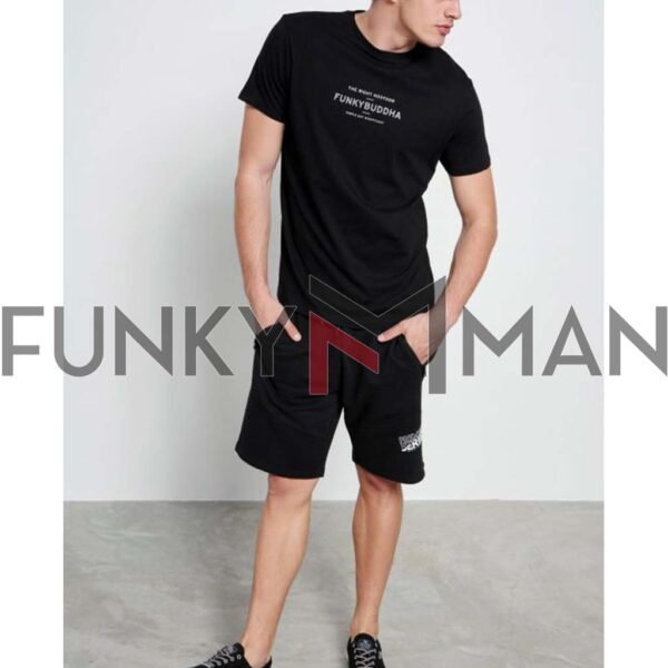 T-Shirt Organic Cotton FUNKY BUDDHA FBM003-009-04 Μαύρο