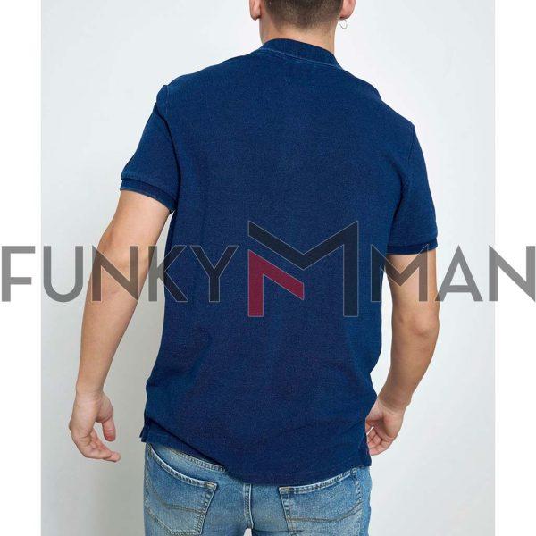 Used Look Indigo-dyed Polo FUNKY BUDDHA FBM003-011-11 Indigo