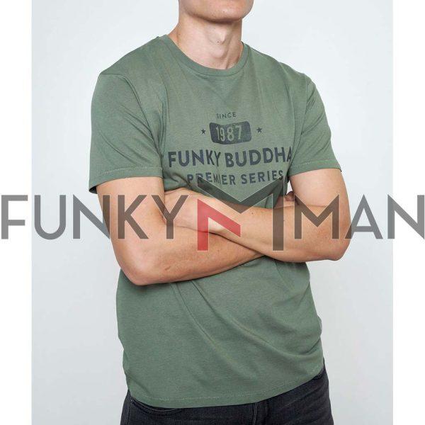 T-Shirt Organic Cotton FUNKY BUDDHA FBM003-013-04 Χακί