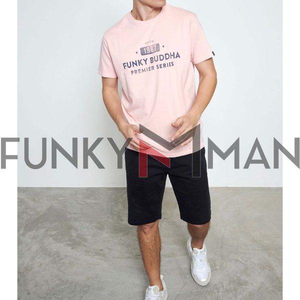 T-Shirt Organic Cotton FUNKY BUDDHA FBM003-013-04 ανοιχτό Ροζ