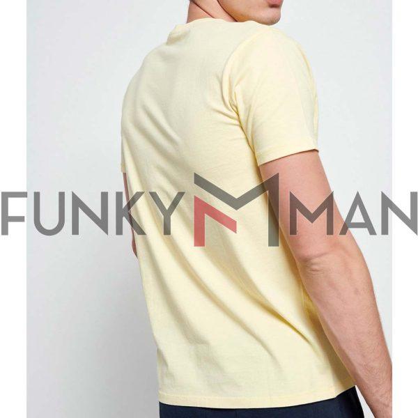 Graphic Print Τ-Shirt FUNKY BUDDHA FBM003-022-04 ανοιχτό Κίτρινο
