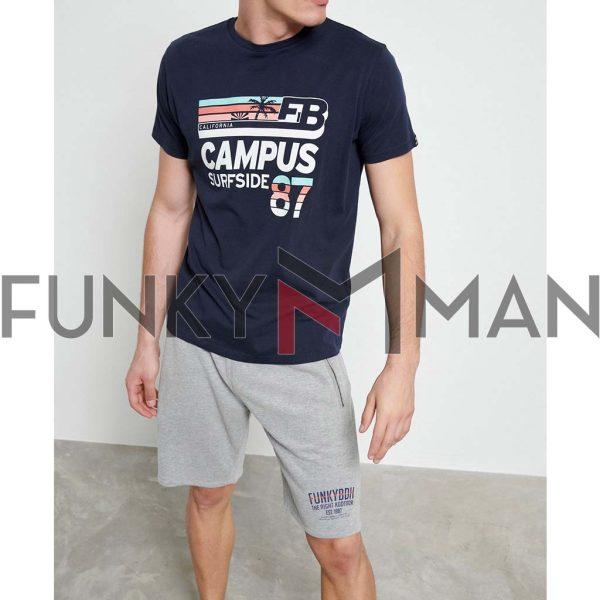 Graphic Print Τ-Shirt FUNKY BUDDHA FBM003-022-04 Navy