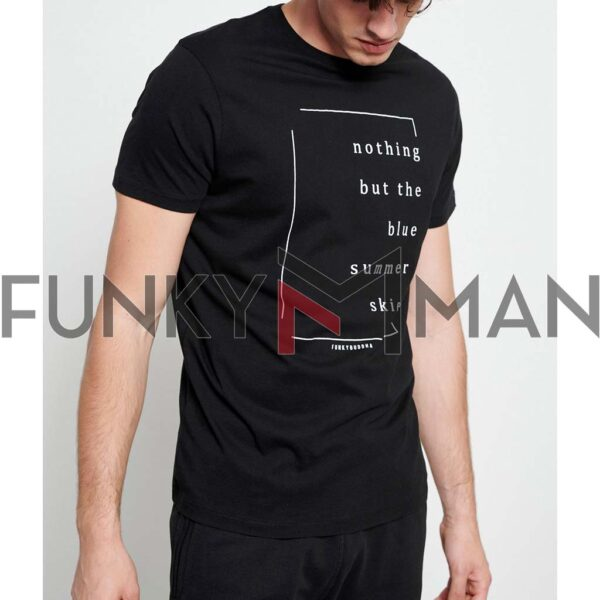 T-Shirt Organic Cotton FUNKY BUDDHA FBM003-023-04 Μαύρο