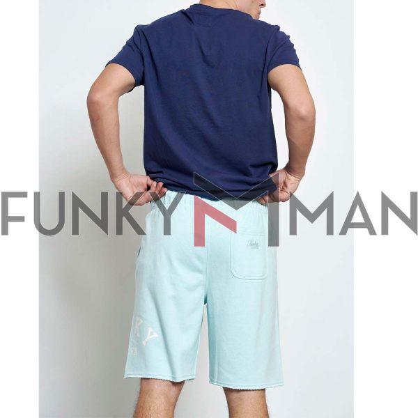 Μακό Loose Fit Βερμούδα FUNKY BUDDHA FBM003-038-03 Sky Blue