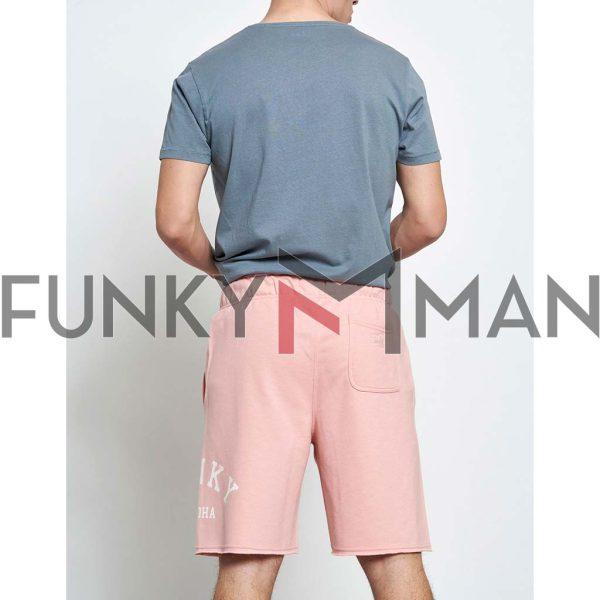 Μακό Loose Fit Βερμούδα FUNKY BUDDHA FBM003-038-03 Ροζ
