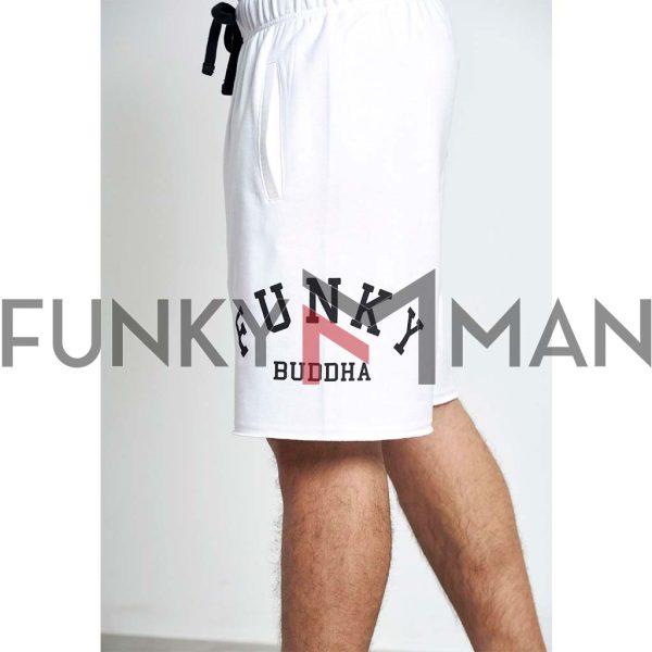 Μακό Loose Fit Βερμούδα FUNKY BUDDHA FBM003-038-03 Λευκό