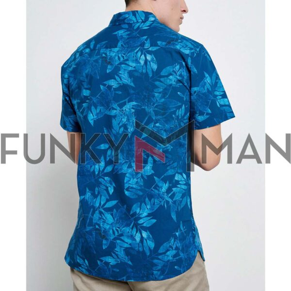 Resort Πουκάμισο Floral Print FUNKY BUDDHA FBM003-049-05 Μπλε