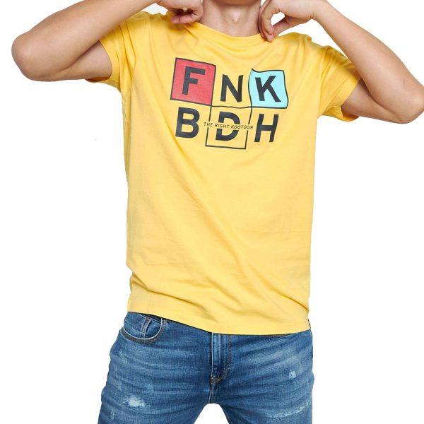 Graphic Print Τ-Shirt FUNKY BUDDHA FBM003-065-04 Κίτρινο