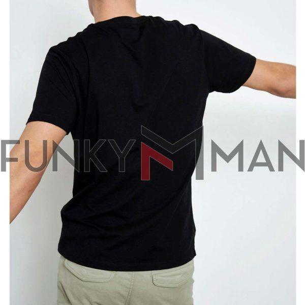 Graphic Print Τ-Shirt FUNKY BUDDHA FBM003-065-04 Μαύρο