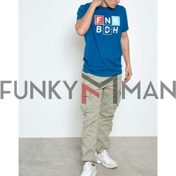 Graphic Print Τ-Shirt FUNKY BUDDHA FBM003-065-04 ανοιχτό Μπλε