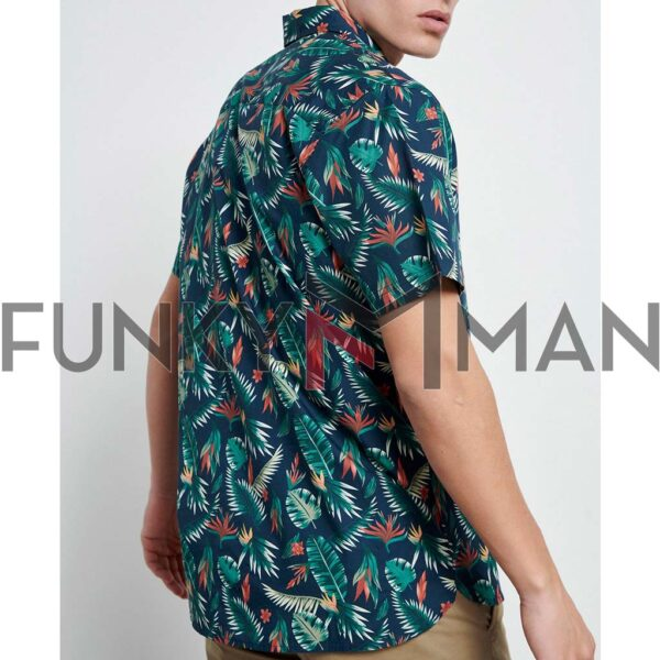 Resort Πουκάμισο Floral Print FUNKY BUDDHA FBM003-067-05 Indigo