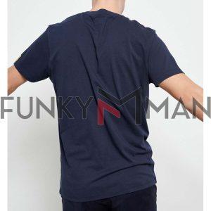 Printed T-Shirt FUNKY BUDDHA FBM003-082-04 Navy