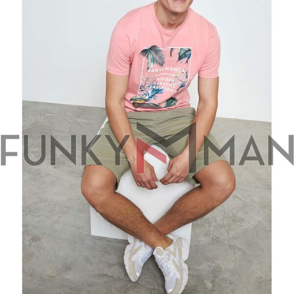 Printed Τ-Shirt FUNKY BUDDHA FBM003-097-04 Ροζ