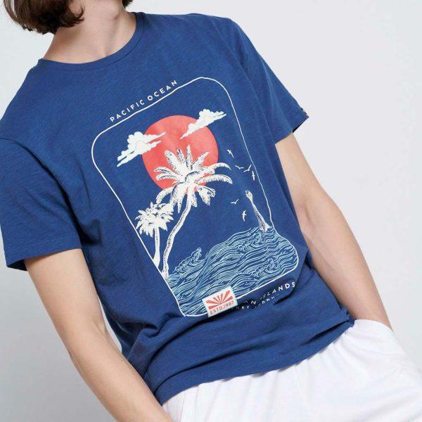 Graphic Print Τ-Shirt FUNKY BUDDHA FBM003-301-04 Indigo