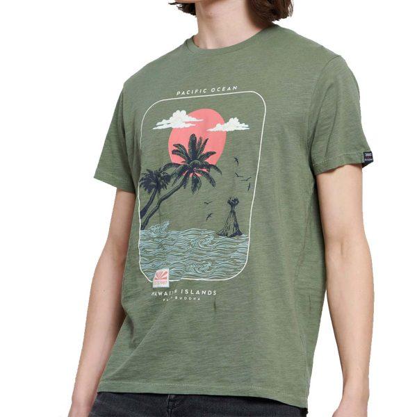 Graphic Print Τ-Shirt FUNKY BUDDHA FBM003-301-04 Χακί