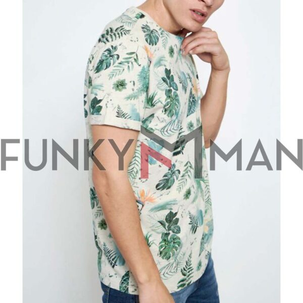 All Over Printed Τ-Shirt FUNKY BUDDHA FBM003-370-04 Off White