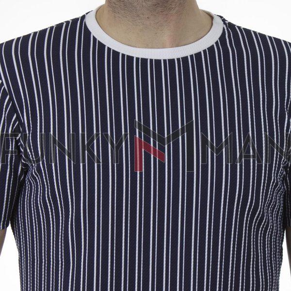 Κοντομάνικο Ριγέ T-Shirt FREE WAVE 21109 ΜπλεΚοντομάνικο Ριγέ T-Shirt FREE WAVE 21109 SS21 Μπλε