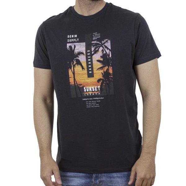 Κοντομάνικη Μπλούζα Garage55 GAM003-210-04 Ανθρακί