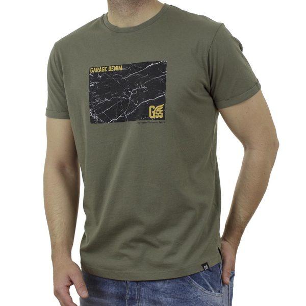 Κοντομάνικη Μπλούζα Garage55 GAM003-218-04 Χακί