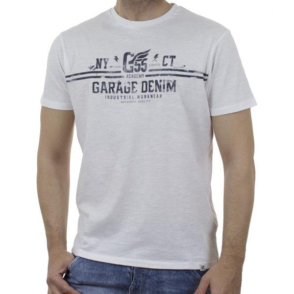 Κοντομάνικη Μπλούζα Garage55 GAM003-232-04 Λευκό