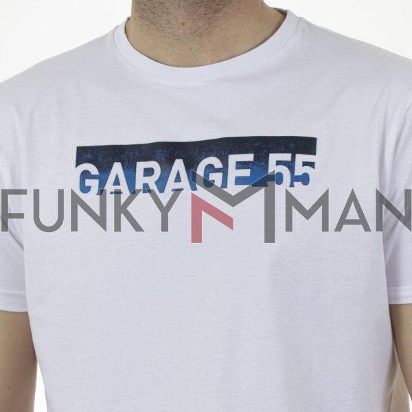 Κοντομάνικη Μπλούζα Garage55 GAM003-235-04 Λεύκο
