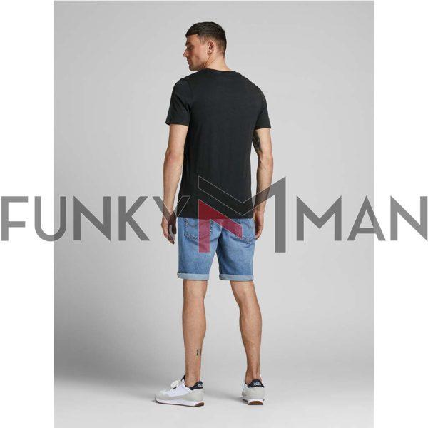 Κοντομάνικο Slim Fit T-Shirt JACK & JONES JJECORP LOGO 12137126 Μαύρο