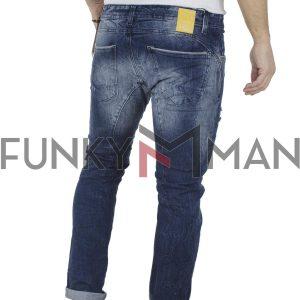 Τζιν Παντελόνι Slim Fit Back2jeans B23 Μπλε