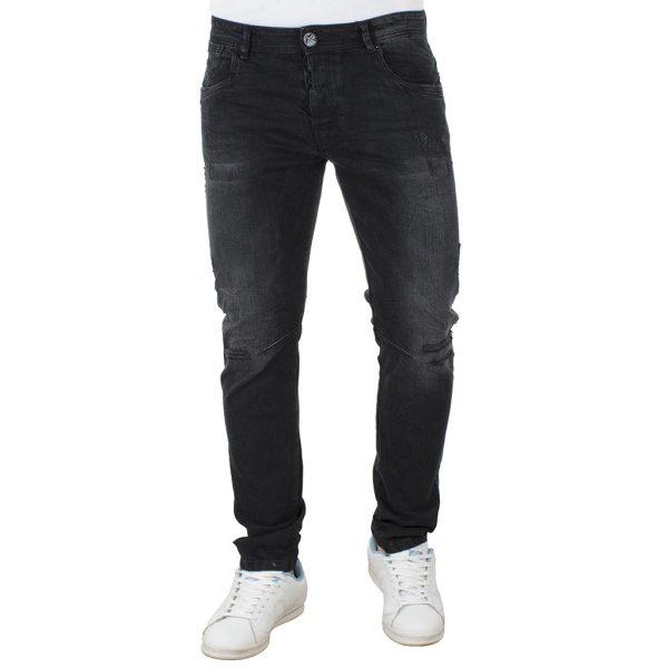 Τζιν Παντελόνι DAMAGED jeans slim fashion D5B Μαύρο