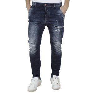 Τζιν Chinos Παντελόνι DAMAGED JEANS Slim D8 Μπλε