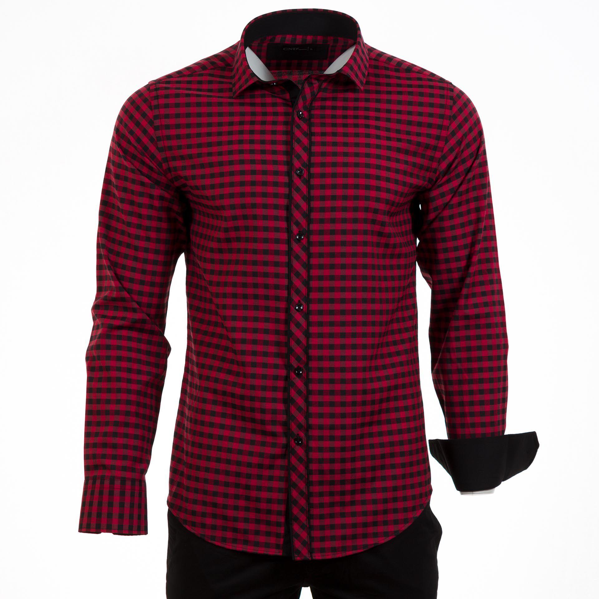 Ανδρικό πουκάμισο CND Shirts Κόκκινο-Μαύρο