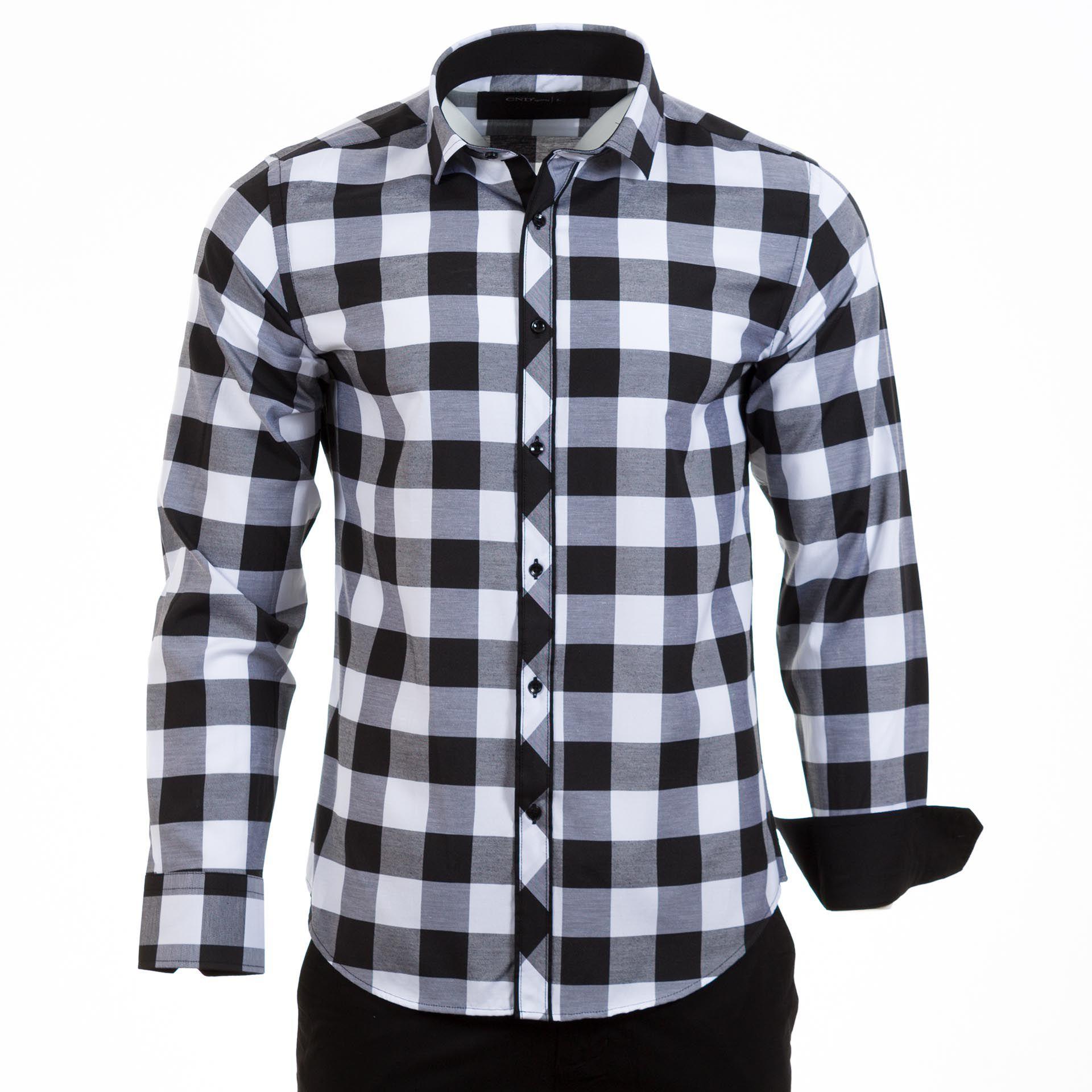 Καρό Μακρυμάνικο Πουκάμισο CND Shirts 900-6 Μαύρο  46e241f720d