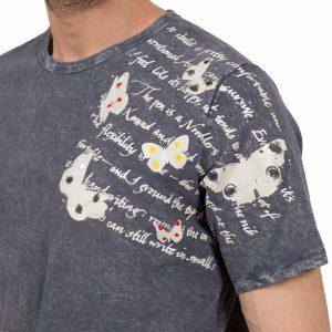 Ανδρική μπλούζα T-Shirt FreeWave Ανθρακί Butterfly