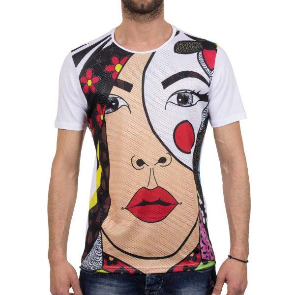Ανδρική μπλούζα T-Shirt FreeWave Face Άσπρο