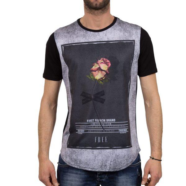 Ανδρική μπλούζα T-Shirt FreeWave Μαύρο Flower