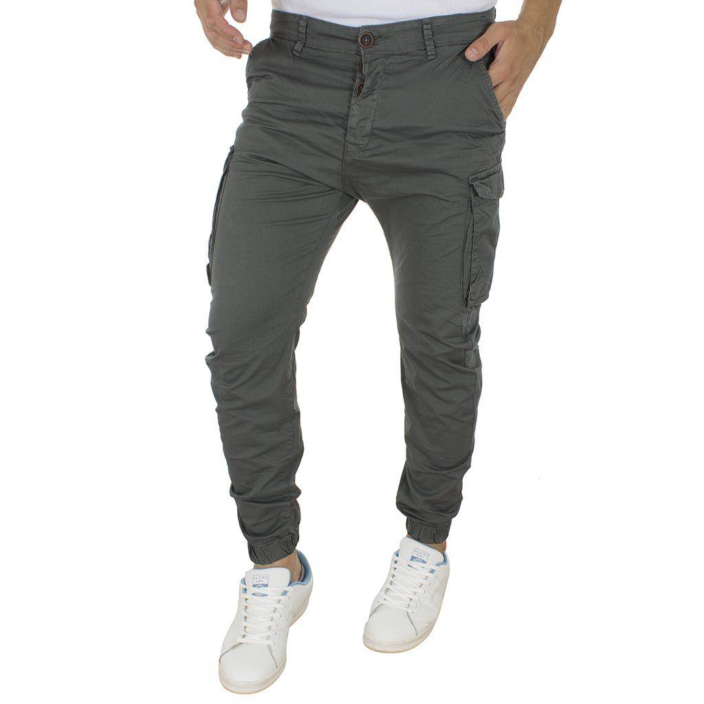 c42668d95dbb Cargo Παντελόνι με Λάστιχα Back2Jeans M60 σκούρο Γκρι