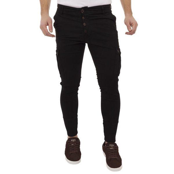 Τζιν Παντελόνι Cargo με Λάστιχο Back2Jeans T40 Black Μαύρο