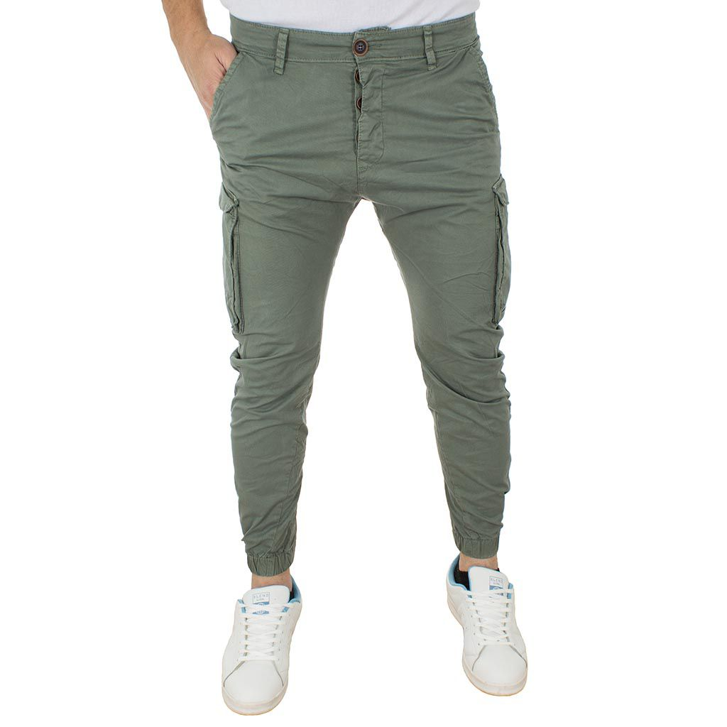 Cargo Παντελόνι Chinos με Λάστιχα Back2jeans Army M60 Χακί