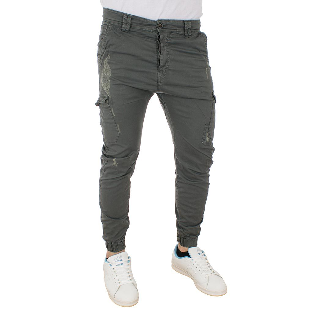 Cargo Παντελόνι Chinos με Λάστιχα Back2jeans Army M64 Γκρι